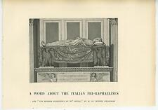 ANTIQUE ITALIAN PRE RAPHAELITE ANGEL EAGLE MEMORIAL TOMB STATUE OLD ART PRINT