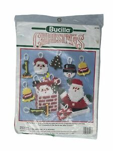 Bucilla Christmas Needlepoint New Vintage 1990 Ornaments Kit #61143 Santa Box