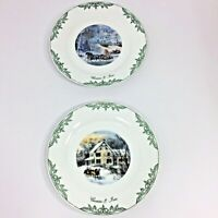Two Currier & Ives 2002 Winter Scene Plates Green White Snow Sleigh Ride Decor