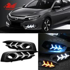 Drl Daytime Running Light Fog Lamp w/ Turn Signal For For 2016-2018 Honda Civic