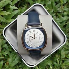 NWT In Box Fossil Idealist Square Navy Blue Leather Rose Gold 36mm Watch ES4197