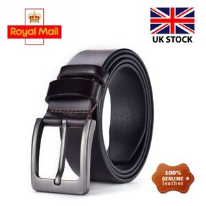 Mens 100% Genuine Leather Belt New Buckle Belts Trouser Jeans Black Brown UK