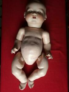 Vintage Armand Marseille 351/8K Bisque Ceramic Baby Doll, Weighted Glass Eyes &