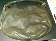 HALOGEN NORDSTROM DARK GREEN PEBBLE LEATHER HOBO SHOULDER BAG WOVEN STRAP TASSEL