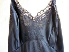 Vintage Silky Black Nylon Tailored Full Slip Lacy Bodice + Hem 34-ish Artemis
