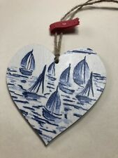SHABBY CHIC Cute Nautical Sailing Heart Keepsake Tag Home Decor Gift