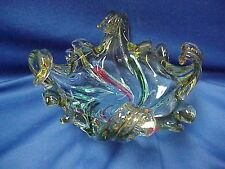 "RED GREEN Swirl Splash UNSIGNED ART GLASS CANDY Bowl Dish 9"" x 9"" x 5"" tall"