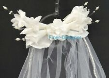 VTG Bridal veil floral headpiece Pearls Wedding White tulle netting comb veil