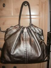 Michael Kors Large Drawstring Metallic Grey Pebbled Leather, Studded Tote Bag