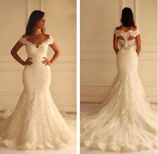 Sexy Mermaid White Ivory Wedding Dress Bridal Gown Custom Size 6 8 10 12 14 16++