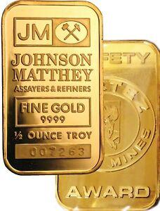 Johnson Matthey Cortez Gold Mines Safety Award 1/2 oz .9999 Fine Gold Bar Sealed