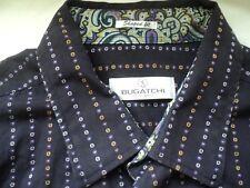 Bugatchi Uomo XXL Black w/Dotted Line Stripe Shaped Fit Paisley Contrast Cuffs