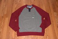 NWT Mens TOMMY HILFIGER Frost Gray Red Crew Neck L/S Sweat Shirt Size 2XL XXL
