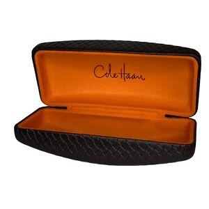 Cole Haan Brown Basketweave Embossed Leather Clamshell Glass Case Orange Inside