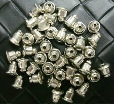40 Earring backs bullet clutches strong basic no tip White Gold plated FPE158