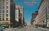 1950s Omaha Nebraska Farnam Street West Chrome autos Dunlap postcard 7322