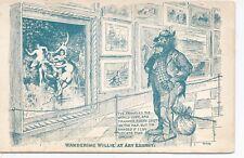 Wandering Willie At Art Exhibit Dirty Old Man Comic Postcard c1900