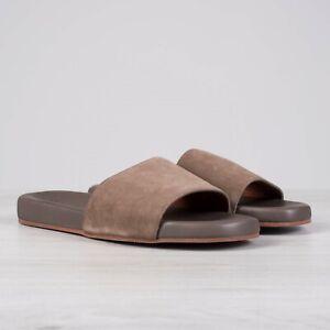LORO PIANA 645$ Sea-Slide Walk Slide Sandals In Carob Brown Suede