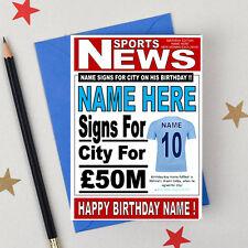 """MAN CITY FOOTBALL FAN """"formali"""" Personalizzata Compleanno CARD!! qualsiasi nome / numero!!"""