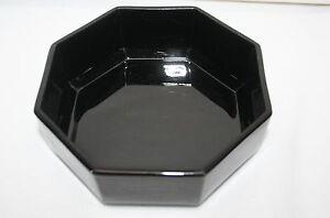 "Arcoroc France Novoctime Octime Black 6"" Cereal Bowl Octagon Octagonal"