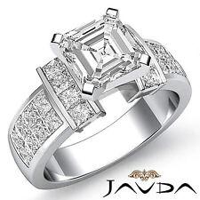 Brillante Asscher Anillo de Compromiso Diamante GIA G VS2 Pureza 14k Oro Blanco