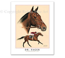 DR. FAGER horse racing champion THOROUGHBRED ART PORTRAIT signed ROHDE