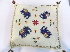 "Vintage Elephant Designed Throw Pillow Knit Thread Square Cushion 18"""