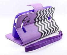 Alcatel One Touch Fierce 2 7040T Flip Folio Wallet Pouch Case Stand Purple Ach