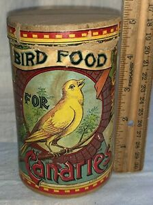 ANTIQUE BIRD FOOD FOR CANARIES PET NEW YORK TIN BOX CAN SEED CANARY VET MEDICINE