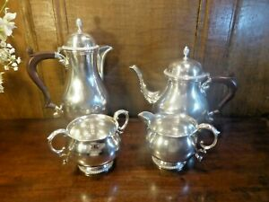 EXCELLENT Silver Plated POTOSI SILVER Co/BARKER Bros 4 pc TEA/COFFEE SET
