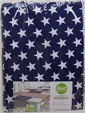 Food Network 5 pc White Red Blue Patriotic Stripe Stars Reversible Table Runner
