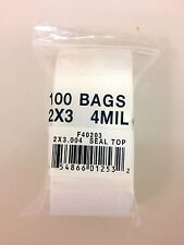 100 Small Resealable 2x 3 Plastic Seal Top Bags 4mil Food Safe Bags