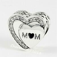 Authentic Pandora Charm 792070 Silver S925 I love you Mom Heart Bead #Z