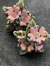 Stunning Vintage Pink Green Enamel Clear Rhinestone Flower Earrings