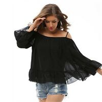 Womens Ladies Casual Off Shoulder Flounce Long Sleeve Swing Top Blouse Size 6-14