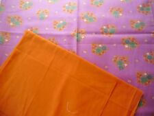 """coupons tissu """" fleurs """"  + orange uni"""