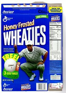 1998 Honey Frosted Wheaties Cereal Box: Tiger Woods front, flattened