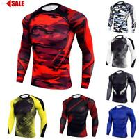 Mens Compression Armour Base Layer Top Long Sleeve Thermal Gym Sports Skin Shirt