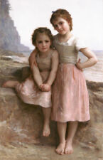 ZOPT410 two little girl seaside hand painted oil painting seascape art canvas