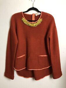 *DFSS* Marni Med-Large Cotton Silk Knit Embellished Jewelled Neckline Jumper