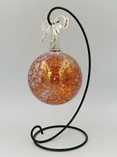 Neo Art Glass handmade iridescent large Christmas baubles with stand K.Heaton.
