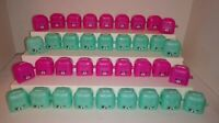 Shopkins 36 Piece Lot of Empty Pink and Teal Backpacks Containers EMPTY