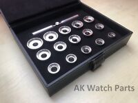 15 Pcs Watch Back Case Opener Die Set/Kit For Breitling Removal Tool 19.1-43.7mm