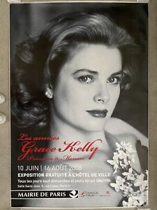 """ORIGINAL 2008 FRENCH GRACE KELLY EXHIBIT POSTER 69"""" X 47"""" ROLLED NEW"""
