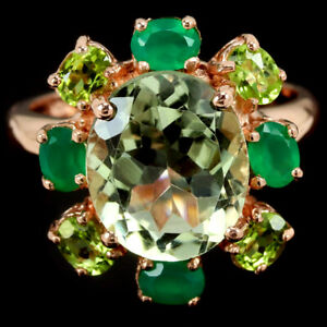 REAL AAA GREEN AMETHYST AVENTURINE & PERIDOT STERLING 925 SILVER RING SIZE 7.25