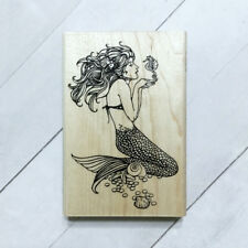 Mermaid Rubber Stamp Wood Mounted Large Stampendous Nautical Coastal Beach Siren