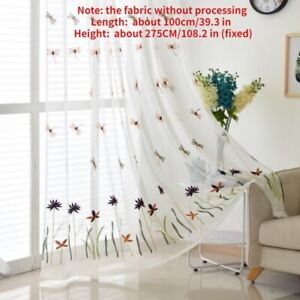 Embroidery Dragonfly Floral Mesh Curtains Fabric Curtain Panel Drape Divider