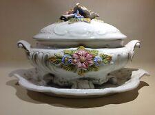 Soupière Vintage Céramique Blanche Décor Floral Barbotine LCS Italy