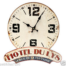 PENDULE HORLOGE MURALE HOTEL DU LYS FANTAISIE DECO ORIGINALE RETRO PUBLICITAIRE