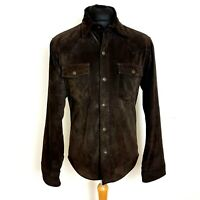 "Levis Mens Suede 100% Leather Shacket 40"" Chest Brown Shirt Jacket Western Cut"